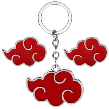 Japan Amine Naruto Red Cloud Cosplay Metal Enamel Keychains/Keyrings  Bag Pendant For Children Kids Gifts Cartoon Accessories amine bouchentouf arabic for dummies