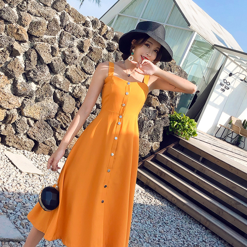 1663 Yellow Strapped Dress Women's Summer Gentle-Style Single-Breasted Off-Shoulder Mid-length Fitted Skirt Hipster Chiffon Dres