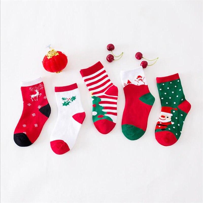 5 Pair Of Autumn And Winter Children's Socks Cute Casual Christmas Socks In Tube Socks Children Men And Women Baby Socks