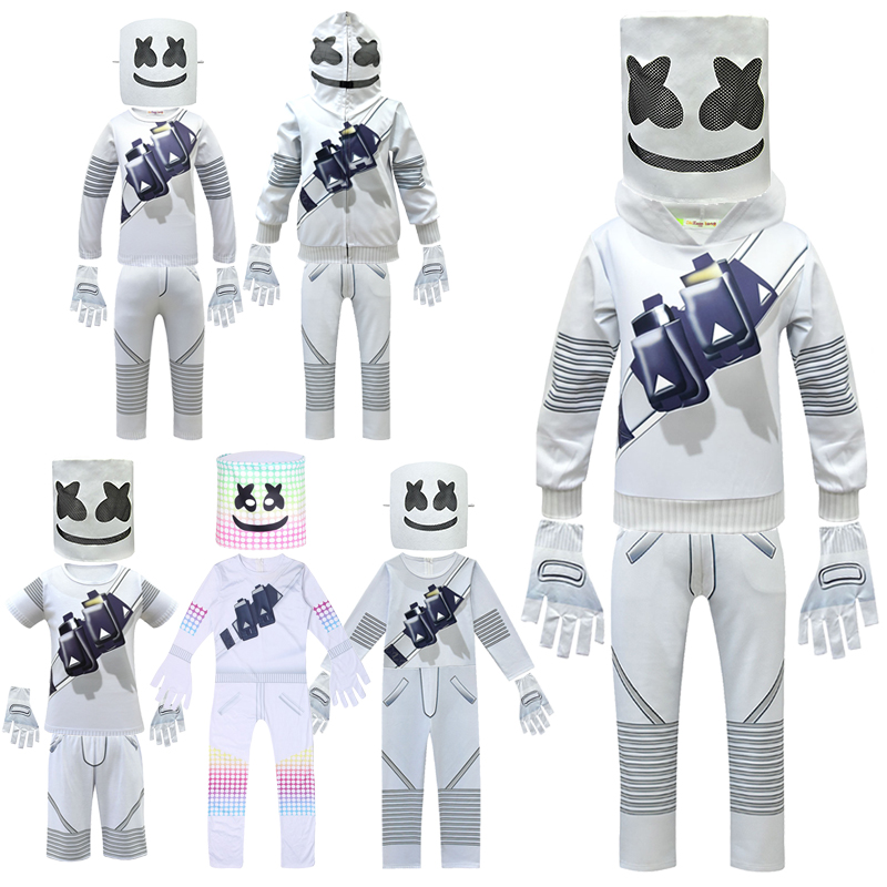 DJ Mask Marshmello Cosplay Costume Carnival Costumes For Kids Carnival Adult Costumes Halloween Head Band Cotton Candy Costume