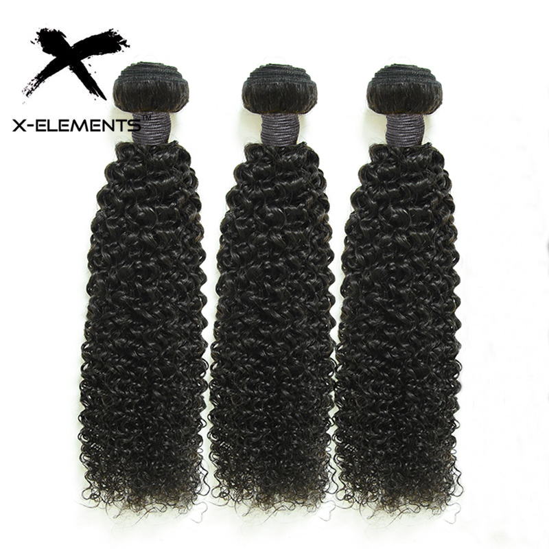 "100% Human Hair Bundles Kinky Curly 3 Pcs Bundles Weaves Non-Remy Peruvian Hair 8""-26"" Natural Color Hair Extensions"