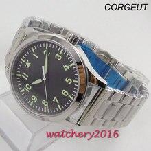 цена 42mm corgeut black sterile dial white marks sapphire glass miyota automatic mens Watch онлайн в 2017 году