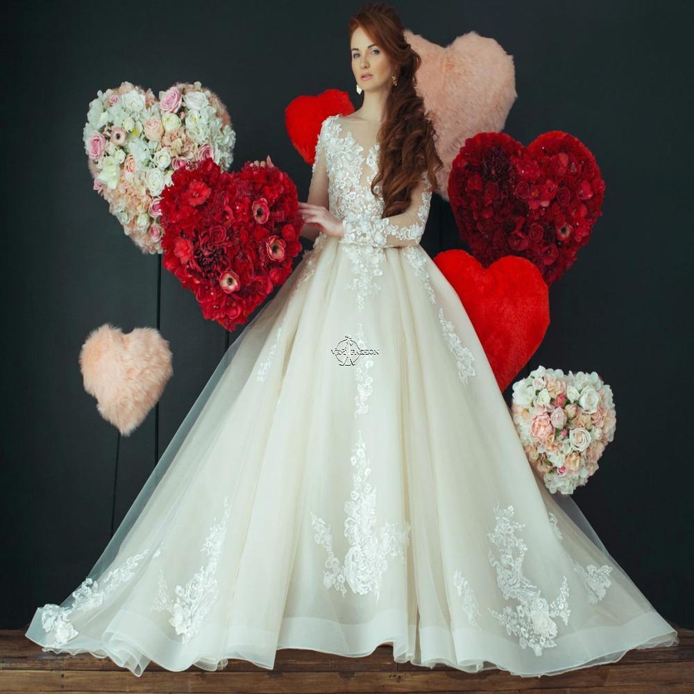 Vintage Boat Neck Long Sleeves Lace Wedding-Dresses White Ivory Beautiful Wedding-Dresses Tulle Vestido De Noiva Court Train