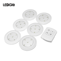 LEDGLE 6 Pcs Wireless Night Lamps Battery Powered Cabinet Lights LED Wall lamp Warm White Light 2 Control Ways For bathroom