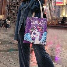 Cute Unicorn Linen Casual Women Shopper Bag Fashion Large Capacity Canvas for Ladies Recycling Shopping TB61