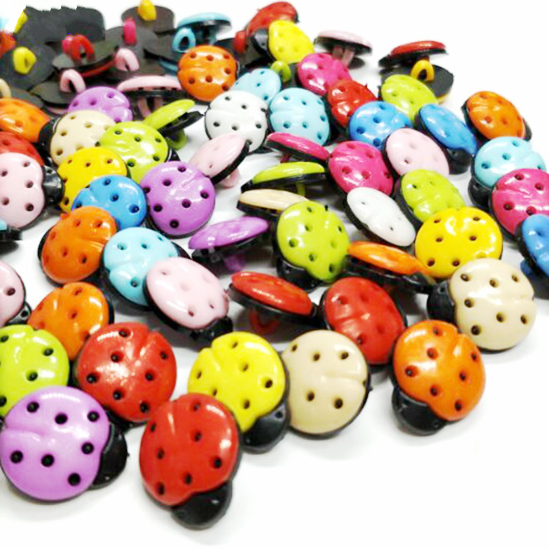 HL 50pcs/150pcs  Mix Colors 15mmx12mm Beetle Shank Plastic Buttons Kid's Garment Sewing Accessories DIY Scrapbookings