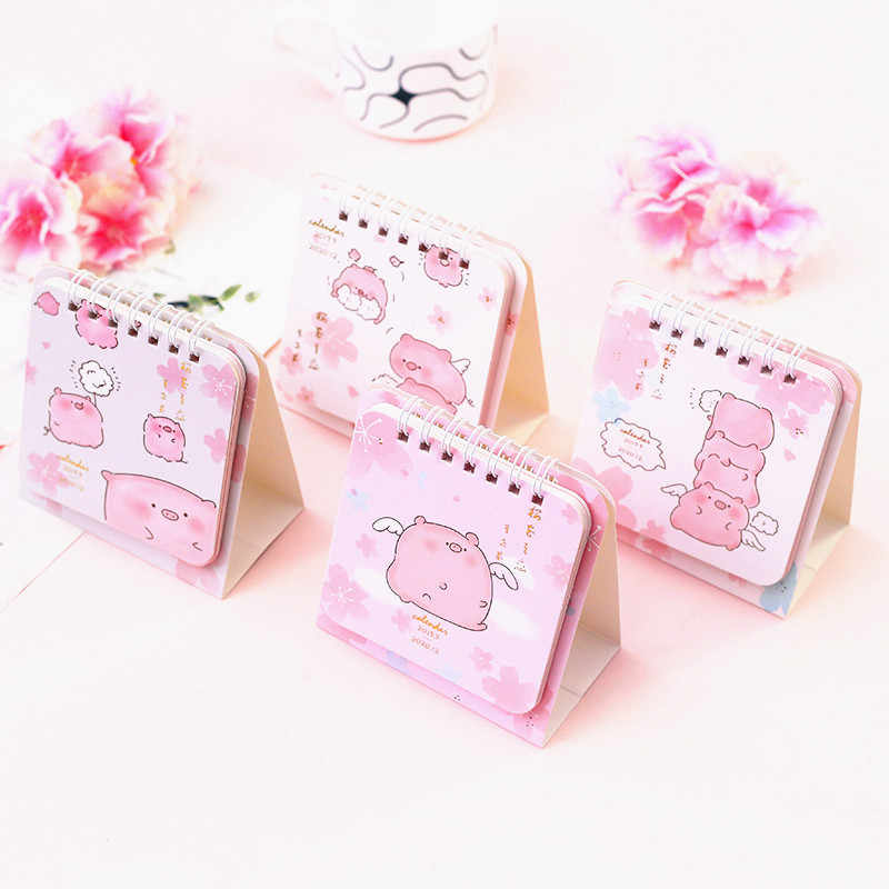 2020 Cherry Calendar DIY Mini Pink Pig Desk Daily Schedule Planner Scheduler Table Planner Yearly Agenda 2020 Organizer