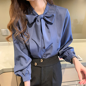 New Bow White Blouse Women Button Office Lady Long Sleeve Blue Chiffon Shirt Autumn Tops Woman Clothes Pocket Womens Shirts 7