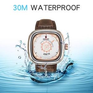 Image 4 - 2020 חדש Mens שעונים KADEMAN למעלה מותג עור עמיד למים ספורט תאריך כיכר קוורץ שעונים לגברים שעוני יד Relogio Masculino