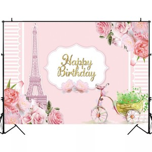 Image 4 - Laeacco Birthday Backdrops Paris Eiffel Tower Flowers Bike Customized Photography Backgrounds For Photo Studio Photophone Props