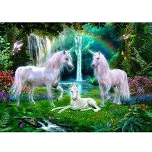 Алмазная 5D картина «сделай сам», Радужный Белый Единорог, полная вышивка квадратными животными, стразы, круглые наборы, свадебные Фотообои