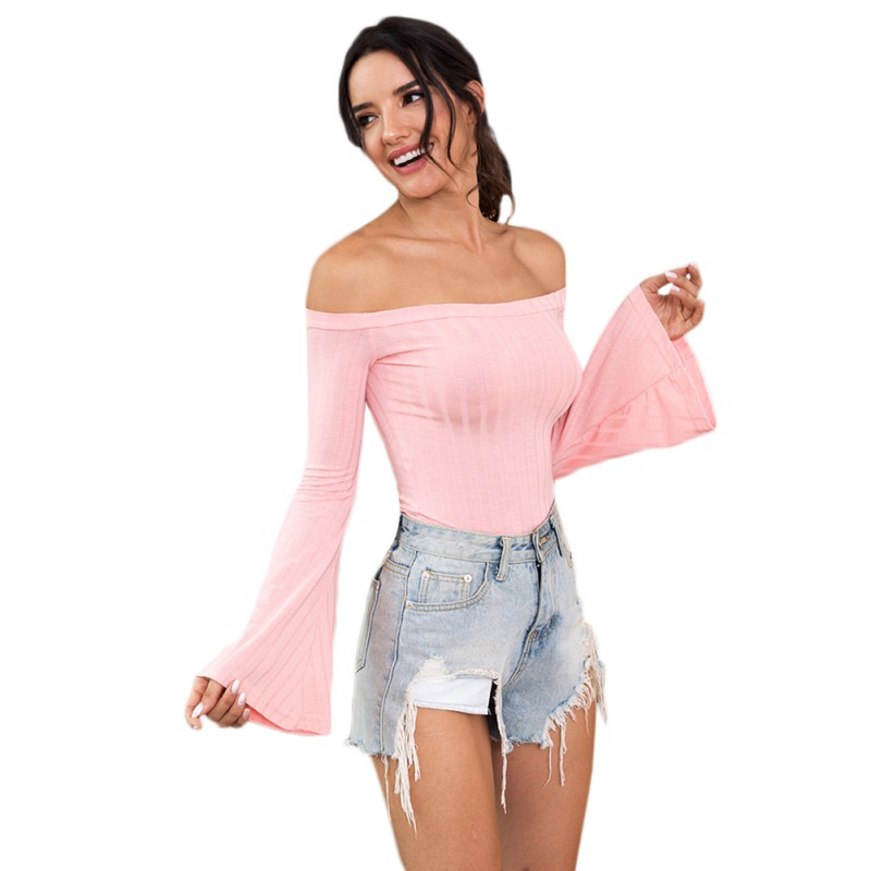 Moda Mujer 2020 Women's Sweater Sexy One-shoulder Wrapped Chest Trumpet Sleeves Sweater Slash Neck Knit Slim Bottoming Sweater