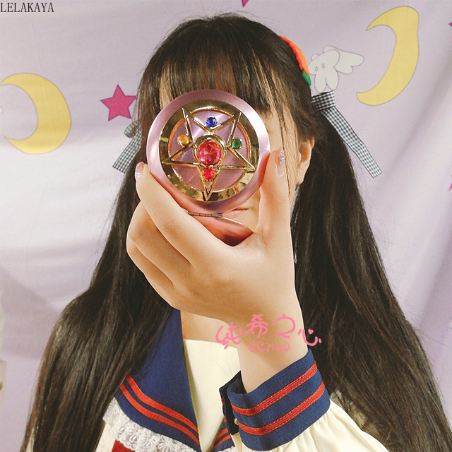 Anime Sailor Moon Moonlight Action Figure Folded Mirror Pink Metal Crystal Star Cosmetic Makeup Mirrors Cosplay Gifts toy New