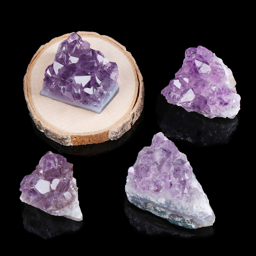 1PC Natural Amethyst Cluster Quartz Crystal Mineral Specimen Healing Stones Gift Rough Ore Geography Teaching Dream Home Decor 14