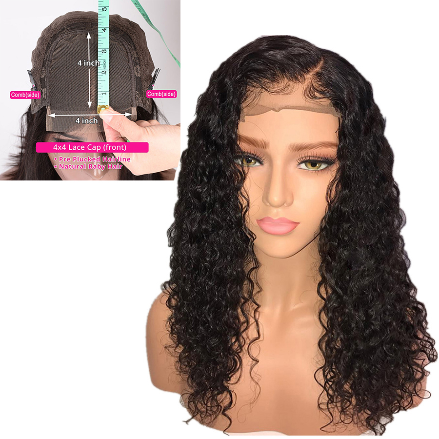 4x4 Curly Lace Closure Wig Brazilian Bob Wig Short Human Hair Wigs For Black Women 150% Remy Pre Plucked Baby Hair Zing Silky