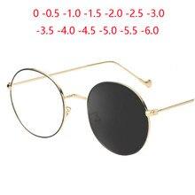 Metall Blau Licht Blockieren Und Photochrome Myopie Brille Fertigen Anti-Uv Runde Rezept Brillen Dioptrien 0-0,5-0,75 Zu-6