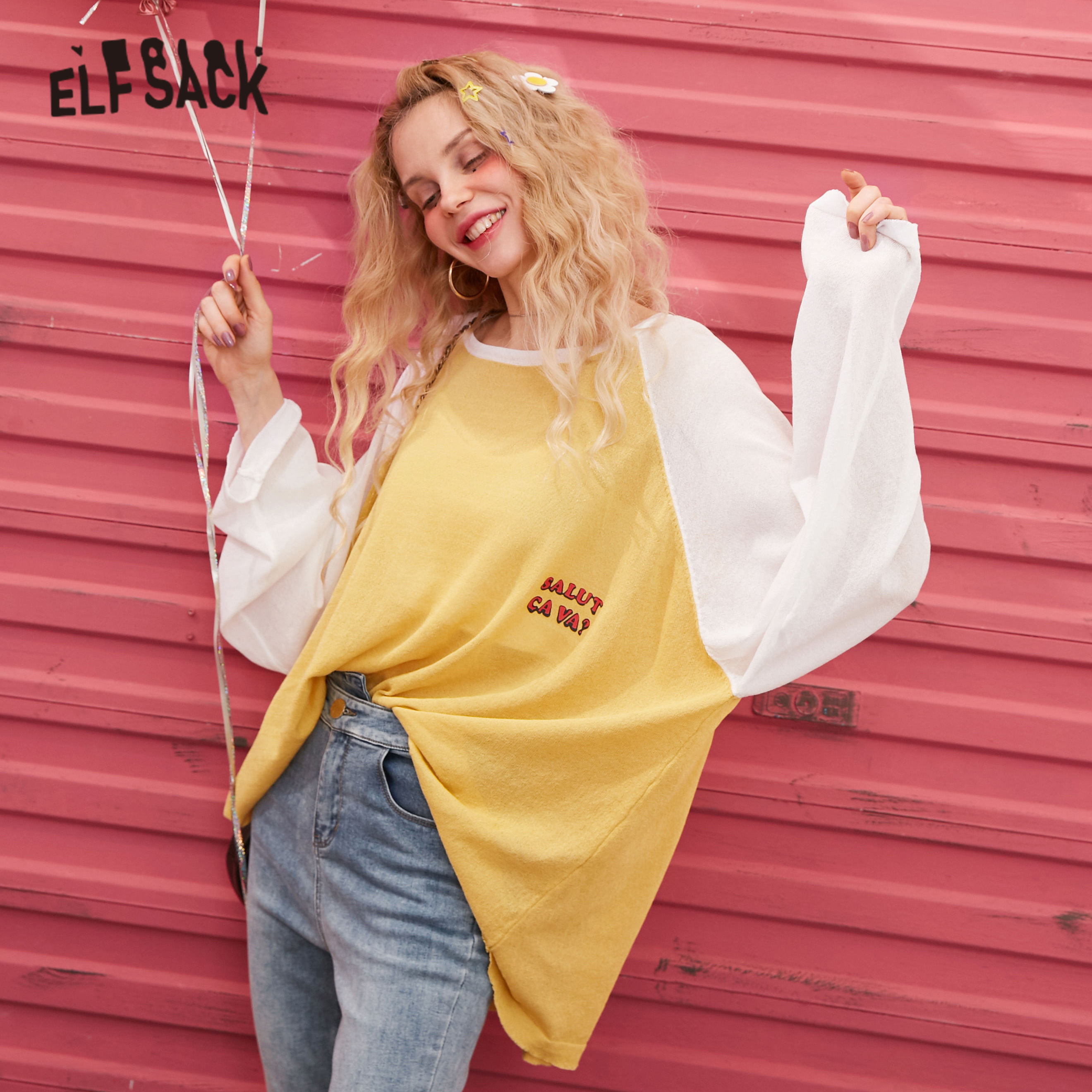 ELFSACK Black Letter Print Knit Casual Pullover Women Thin Sweater 2020 Spring Yellow Colorblock Long Sleeve Girly Korean Tops