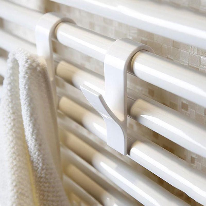 New White Towel Mop Coat Hooks Transparent Storage Hanging For Bath Heated Radiator Clothes Hanger Organizer Decoration Tools