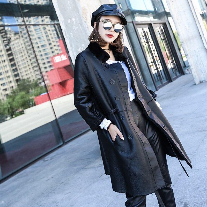 Genuine Leather Jacket Women Sheep Shearing Winter Coat Women Two Side Wear Womens Clothing Jaqueta De Couro 88199 YY844