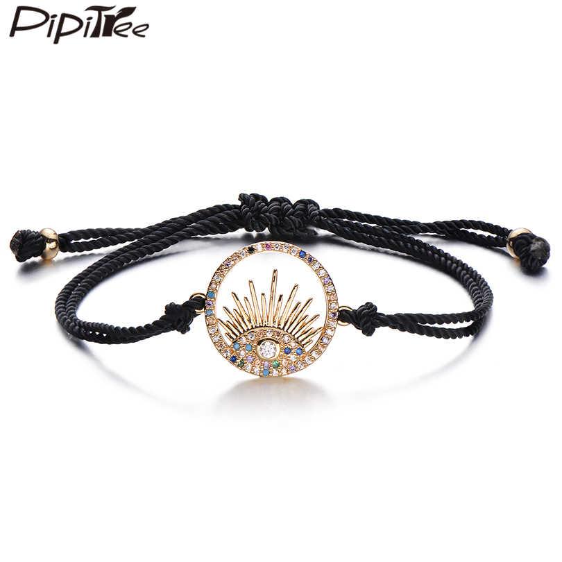 Pipitree marka AAA Micro CZ cyrkon Evil Eye Charm bransoletki okrągły kształt czerwony czarny przewód bransoletka męska i damska bransoletka CZ biżuteria prezent