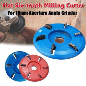 Image 2 - Four/Six Tooth Red/Blue Power Wood Carving Disc Tool Milling Cutter For 16mm Aperture Angle Grinder Diameter 90mm Polishing