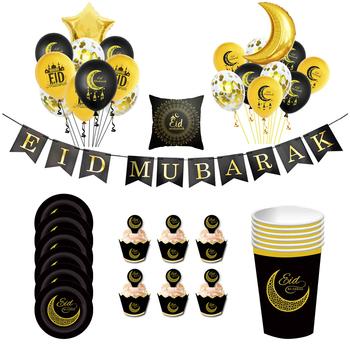 EID Mubarak dekoracyjne konfetti balon Ramadan Mubarak Kareem Eid wystrój domu islamski muzułmanin prezent pudełko cukierków Event Party Supplies tanie i dobre opinie HOUHOM CN (pochodzenie) Wąsy Szewron Zwierzę rysunkowe Chłopiec i Dziewczynka Zwierząt Postać rysunkowa Face Panna młoda i Pan Młody