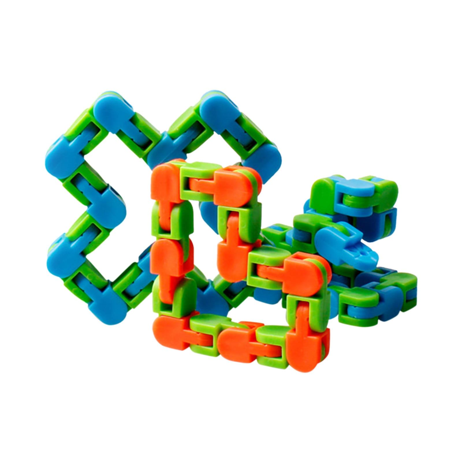 Sensory Toy Puzzles Decompression-Toys Fidget Autism Wacky Tracks Click Snake And 24-Links img5