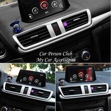 For Mazda 3 Axela 2017-2019 Interior Central Console Air Condition Outlet Button CD Panel Cover Trims ABS Chrome Car Accessories