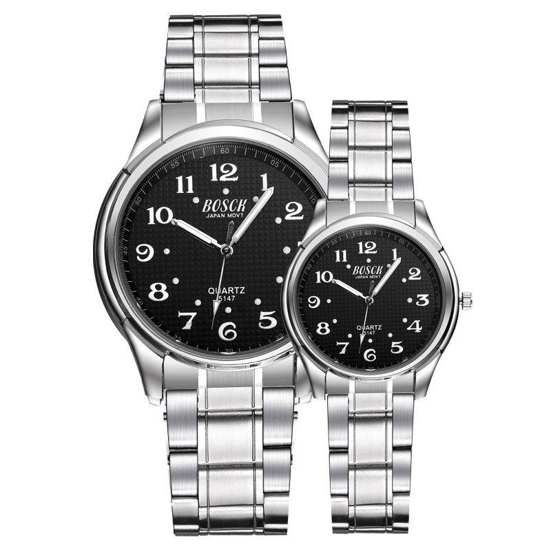 Men's Fashion 30 Meters Waterproof Luminous Digital Dial Steel Belt Quartz Watch Ladies White Luminous Pointer Couple Watch