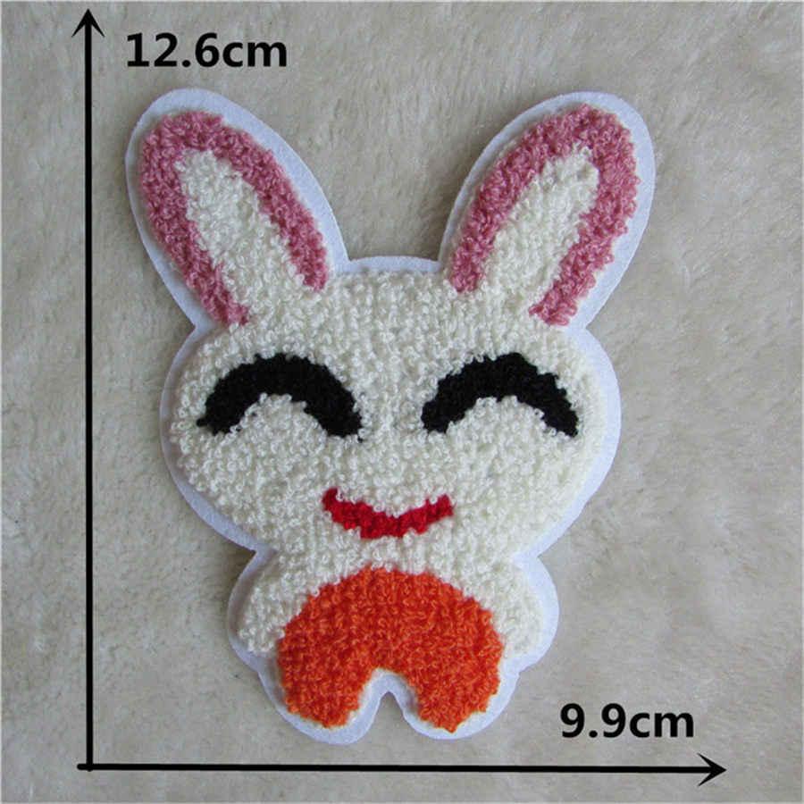 Mignon broderie dessin animé Animal fer pour patchs coudre sur Applique Motifs autocollants Application pour vêtements bricolage lapin Badges