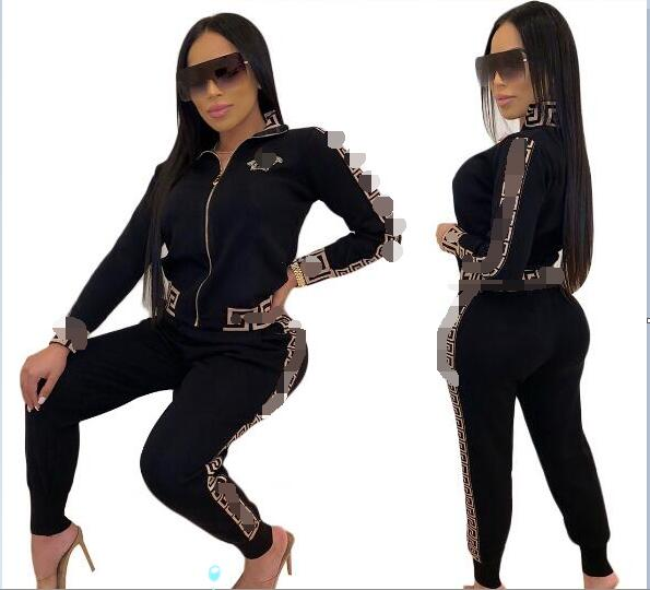 2020 Fashion Summer Long Sleeve Women Tracksuit Two Piece Sets Sports Fitsness Female Outdoor Clothes Sets Crop Top And Pants