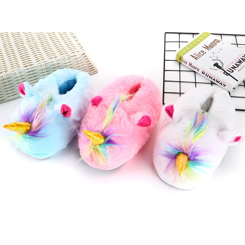Cartoon Warm Slippers Adult Shoes Kigurumi Cute Unicorn Women Shoes Winter Plush Indoor Home Shoes Cosplay Household