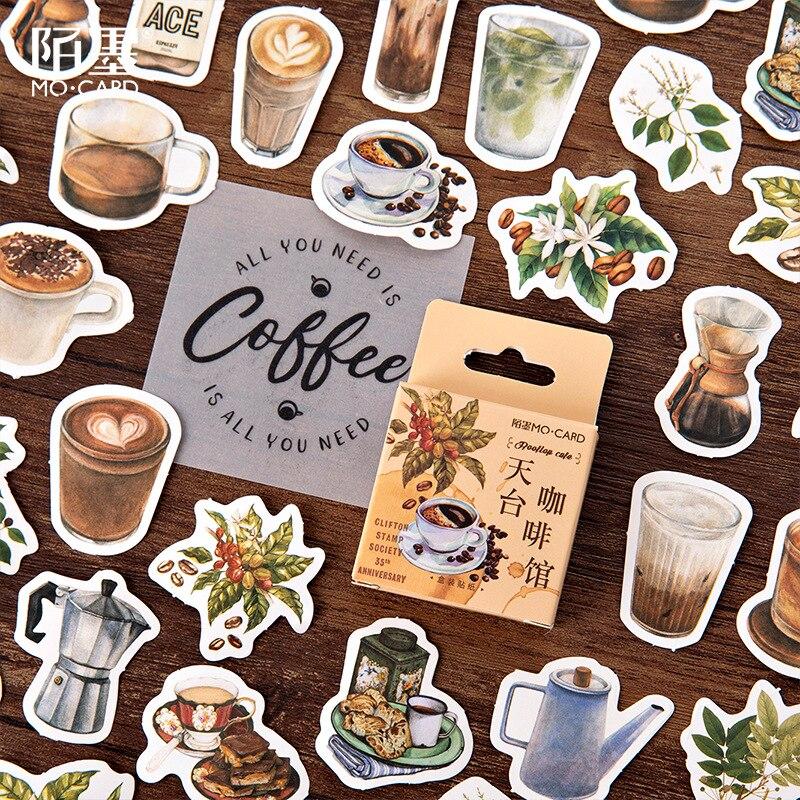 Mohamm 46 adet kahve dükkanı dekoratif Sticker kitaplar Scrapbooking DIY not kağıdı etiket gevreği kırtasiye aksesuarları sanat malzemeleri