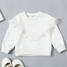 Baby Girls Clothes Long Sleeve O neck Solid Cotton Lace Mesh Casual Hoodies Autumn Tops Loose Outfits