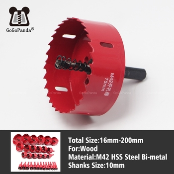 цена на GOGOPANDA Free shipping 16-200mm Bi-Metal Wood Hole Saws Bit for Woodworking DIY Wood Cutter Drill Bit