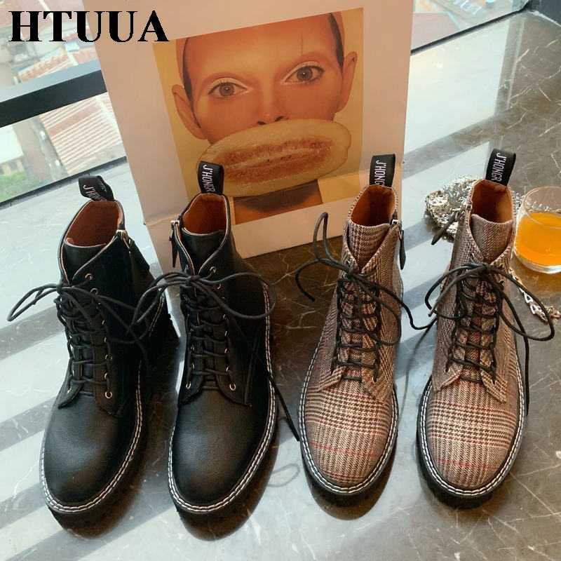 HTUUA Korean Fashion Martens Boots Women Casual Lace Up