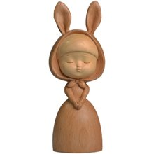 Dream Rabbit Sculpture Wood Statue Nordic Girl Miniature Figurines Home Room Decor Crafts Birthday Present Valentines Day Gifts