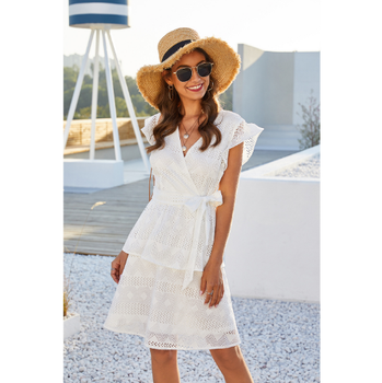 High quality dress 2020 summer new cut out V-neck short sleeve tie cake dress