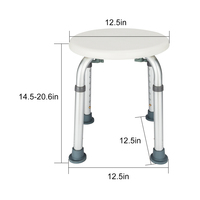 Aluminum Alloy Elderly Bath Chair Round Stool with Sucker Armrest Bathroom Aid Bathing Stool Bench for Home Furniture Accessorie