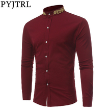 Shirts Embroidery-Collar Wine White Camisa Slim-Fit Long-Sleeve Gold Party Casual Black