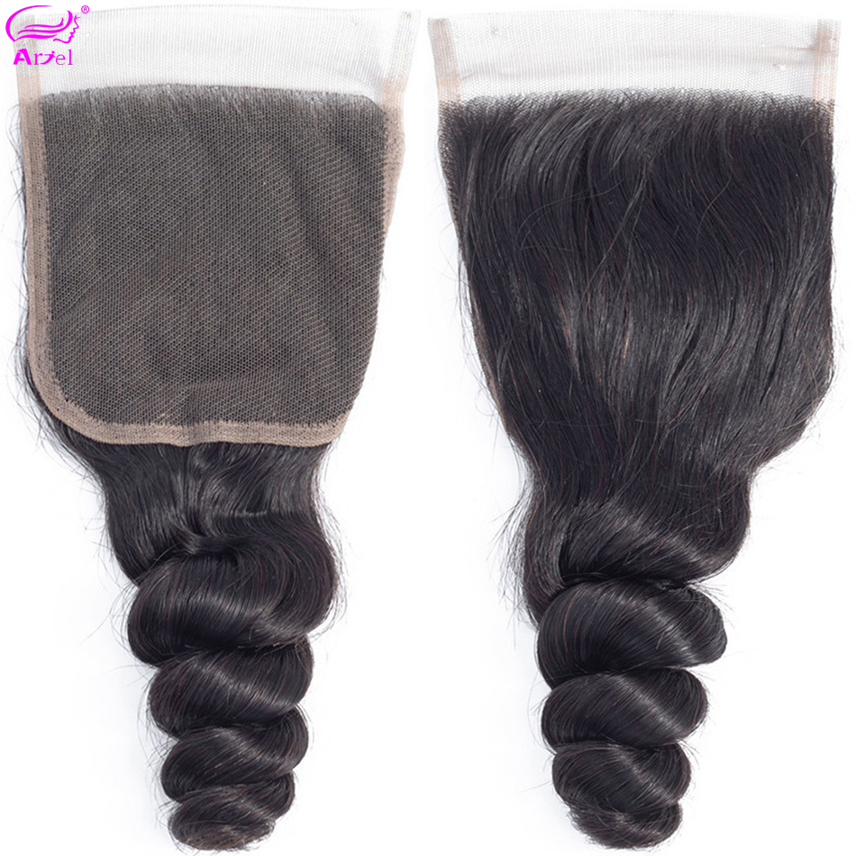 Ariel Wave Closure Human-Hair Transparent Lace Middle-Part Indian Loose 20inch Non-Remy
