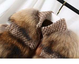 Image 4 - Oftbuy 2020 Winterjas Vrouwen Parka Echte Bontjas Natuurlijke Wasbeer Bont Wollen Jas Bomberjack Koreaanse Streetwear Nieuwe Oversized