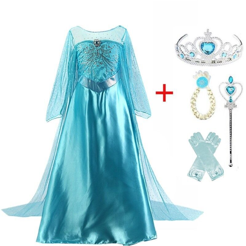 Princess Dress For Girls Princess Elsa Dress Cosplay Kid Fancy Halloween Party Princess Costume Cosplay Christmas Girls Dresses