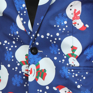 Image 5 - Mens Fashion Casual New Snowman christmas Printing Long Sleeve Wedding Party Streetwear Fashion Casual Print  3 pieces Suit
