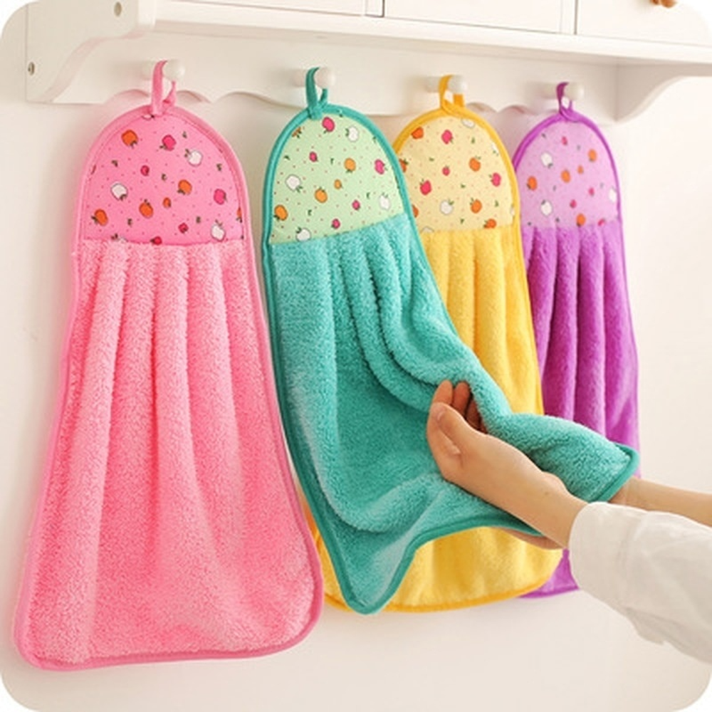 Coral Velvet Bathroom Supplies Soft Hand Towel Absorbent Cloth Dishcloths Hanging Cloth Kitchen Accessories 30*40cm(China)