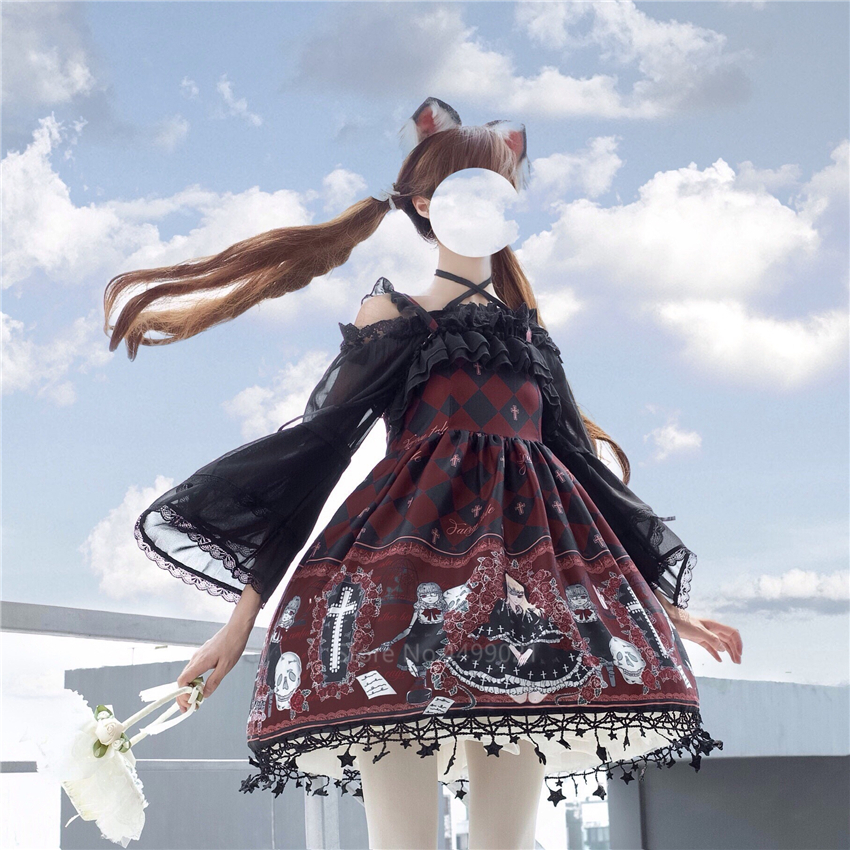 <font><b>Lolita</b></font> Ghost Pattern Printed Cosplay Costume for Women Gothic Jsk Ruffle Cross Decorated Retro Strap Tulle Dress Tea Party Skirt image