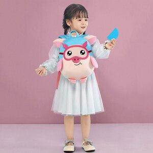 Image 5 - NOHOO Kids Toddler Child Pre School Backpack Waterproof 3D Cartoon Pilot Pig Sidesick Bag for Pre Kindergarten 2 6 Years