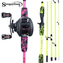 Sougayilang Portable 5 Section 1 70m Fishing Rod Combo Carbon Fishing Rod and 12+1BB Baitcasting Reel Fishing Tackle Set cheap Rod+Reel Stainless Steel 2 4 m Ocean Boat Fishing Ocean Rock Fshing Ocean Beach Fishing LAKE River Reservoir Pond stream
