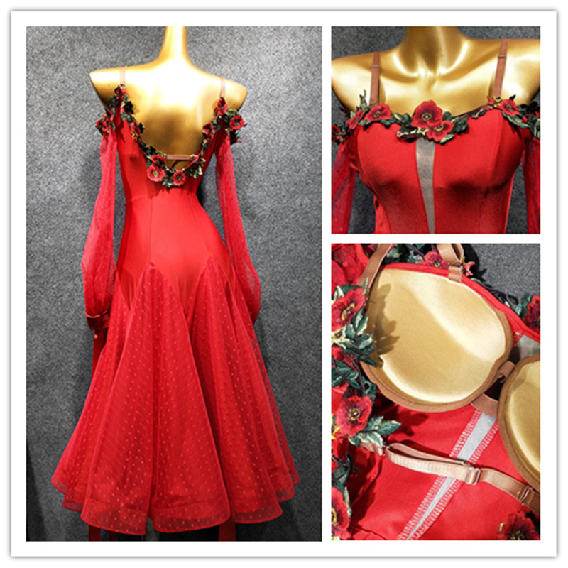 Standard Ballroom Dress Viennese Waltz Dress Waltz Dance Costumes Red Tango Dress  Foxtrot Dance Dress Dance Clothes Ball Dress