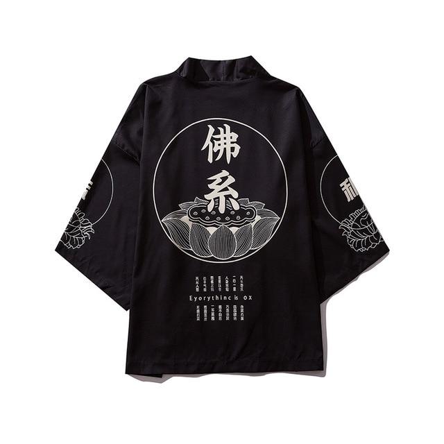 Male Print Kimono Cardigan Print Shirt Blouse Yukata Men Haori Obi Clothes Samurai Clothing Japanese Casual Soft Kimono For Men